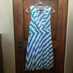 Turquoise and white cotton blend sleeveless dress